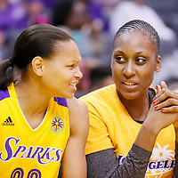 03 August 2014: Los Angeles Sparks forward/center Sandrine Gruda (7) talks to Los Angeles Sparks guard/forward Armintie Herrington (22) during the Los Angeles Sparks 70-69 victory over the Connecticut Sun, at the Staples Center, Los Angeles, California, USA.