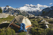 Backcountry camp near Middle Lakes, Mount Challenger and Whatcom Peak seen in the distance. North Cascades National Park Washington