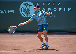 April 11, 2018 - Houston, TX, U.S. - HOUSTON, TX - APRIL 11:  Nicolas Kicker of Argentina hits a forehand during the second round of the Men's Clay Court Championships on April 11, 2018 at River Oaks Country Club in Houston, Texas.  (Photo by Leslie Plaza Johnson/Icon Sportswire) (Credit Image: © Leslie Plaza Johnson/Icon SMI via ZUMA Press)