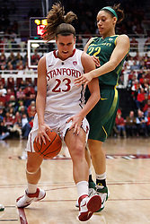 February 26, 2011; Stanford, CA, USA;  Stanford Cardinal guard Jeanette Pohlen (23) is fouled by Oregon Ducks guard/forward Tatianna Thomas (22) during the first half at Maples Pavilion.  Stanford defeated Oregon 99-60.