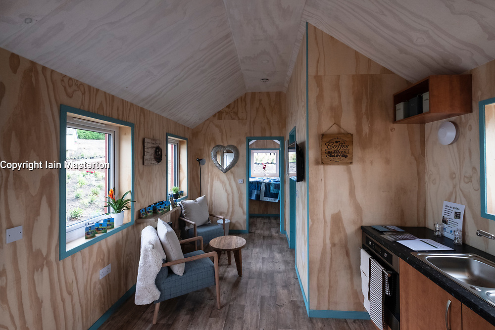 Interior of  new wooden house at the Social Bite Village in Granton built by Social Bite organisation for homeless people, Edinburgh, Scotland, United Kingdom, UK
