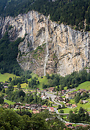 Waterfall above town of Lauterbrunnen, Switzerland