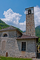 Close-up of an ancient stone church and tower in Valle Verzasca, Ticino, Switzerland.