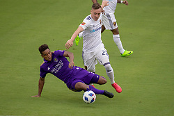 May 6, 2018 - Orlando, FL, U.S. - ORLANDO, FL - MAY 06: Orlando City midfielder Cristian Higuita (7) and Real Salt Lake forward Corey Baird (27) go for the ball during the soccer match between the Orlando City Lions and Real Salt Lake on May 6, 2018 at Orlando City Stadium in Orlando FL. Photo by Joe Petro/Icon Sportswire) (Credit Image: © Joe Petro/Icon SMI via ZUMA Press)