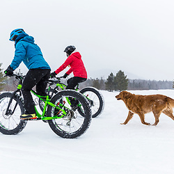 Winter fat tire biking in New Hampshire's White Mountains.