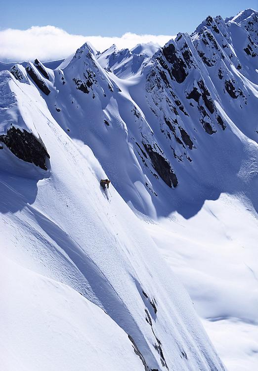 Skier turning in fresh powder snow on steep mountainside, Wanaka, New Zealand