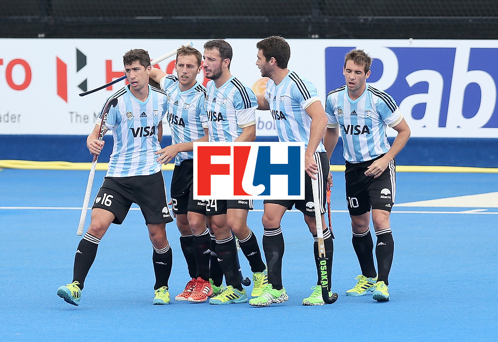 LONDON, ENGLAND - JUNE 24: Lucas Vila of Argentina celebrates scoring their teams first goal with teammates during the semi-final match between Argentina and Malaysia on day eight of the Hero Hockey World League Semi-Final at Lee Valley Hockey and Tennis Centre on June 24, 2017 in London, England. (Photo by Alex Morton/Getty Images)