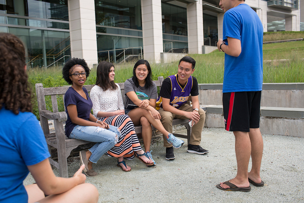 Medical students, from left, Cassi Hobbs, Rayan Kaakati, Tiffany Dong, George Tran and Winston Liu, celebrate the completion of their first year outside the Mary Duke Biddle Trent Semans Center for Health Education on the campus of Duke University in Durham, North Carolina, Thurs., June 23, 2016. Few college students from underrepresented groups seek doctorates, particularly in STEM fields. Duke University&rsquo;s medical school created the Office For Biomedical Diversity six years ago to see if they could change that equation. Now, not only are more minority students are entering Duke's biomedical PhD programs, but they&nbsp;are performing better once there.&nbsp;<br /> <br /> D.L. Anderson for The Chronicle of Higher Education