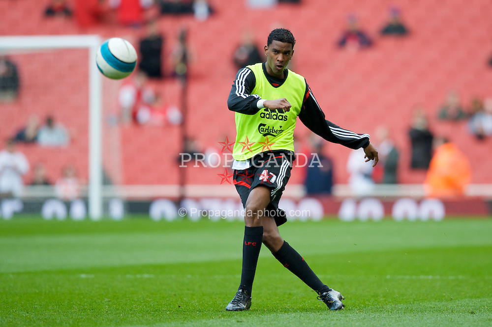 LONDON, ENGLAND - Saturday, April 5, 2008: Liverpool's Damien Plessis warms-up before the Premiership match against Arsenal at the Emirates Stadium. (Photo by David Rawcliffe/Propaganda)