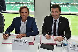 June 15, 2018 - Saint-Etienne - Stade Geoffroy G, France - Roland Romeyer (president du directoire) - Gael Perdriau  (Credit Image: © Panoramic via ZUMA Press)