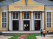 Spa guests during sportive walking at the spa resort of Frantiskovy Lazne in Czech Republic. Frantiskovy Lazne is world renowned as a spa. The salutary effects of the springs were known from the 15th century on.