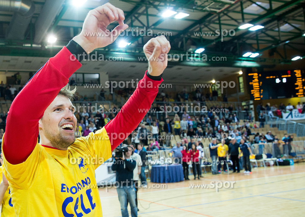 Urban Lesjak of RK Celje PL celebrates after winning during handball match between RK Celje Pivovarna Lasko and RK Gorenje Velenje in Final of Slovenian Handball Cup 2015, on March 29, 2015 in Arena Bonifika, Koper, Slovenia. RK Celje Pivovarna Lasko became Slovenian Cup Champion 2015. Photo by Vid Ponikvar / Sportida