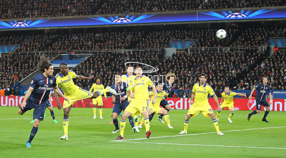 Paris Saint-Germain Edinson Cavani heads at goal during the Champions League match between Paris Saint-Germain and Chelsea at Parc des Princes, Paris, France on 17 February 2015. Photo by Phil Duncan.