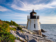 Castle Hill Lighthouse in summer, a beautiful and famous New England light house, Newport, Rhode Island, USA, August 2015.