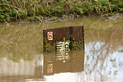 © London News Pictures. 26/12/2017. Glastonbury, UK.  Te water level on the River Blue which has broken it's banks at Glastonbury on Boxing Day morning. Photo credit: Jason Bryant/LNP
