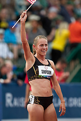 2012 USA Track & Field Olympic Trials: women's 1500 meters final, Jenny Simpson raises flag after making Olympic team