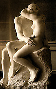 "Image of Rodin's ""The Kiss"" sculpture at the Musee Rodin in Paris, France"