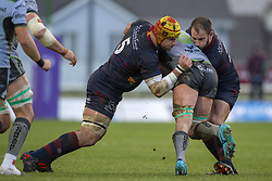 December 8, 2018 - Galway, Ireland - Eoghan Masterson of Connacht tackled by Berend Botha of Perpignan during the European Rugby Challenge Cup between Connacht Rugby and Parpignan at the Sportsground in Galway, Ireland on December 8, 2018  (Credit Image: © Andrew Surma/NurPhoto via ZUMA Press)