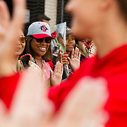 12 May 2018: The SDSU senior's moms join pregame ceremonies prior to taking on Utah State. San Diego State women's softball closed out the season against Utah State with a 4-3 win on seniors day and sweep the series. <br /> More game action at sdsuaztecphotos.com