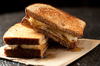 The peanut butter and banana sandwich with honey and garlic butter at Smash Bar in St. Louis.