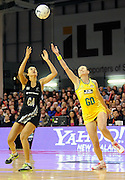 Maria Tutaia and Rebecca Bulley of the Diamonds both go for the ball. Constellation cup netball. Silver Ferns v Australian Diamonds at ILT Velodrome, Invercargill, New Zealand. Sunday 15th september 2013. New Zealand. Photo: Richard Hood/photosport.co.nz