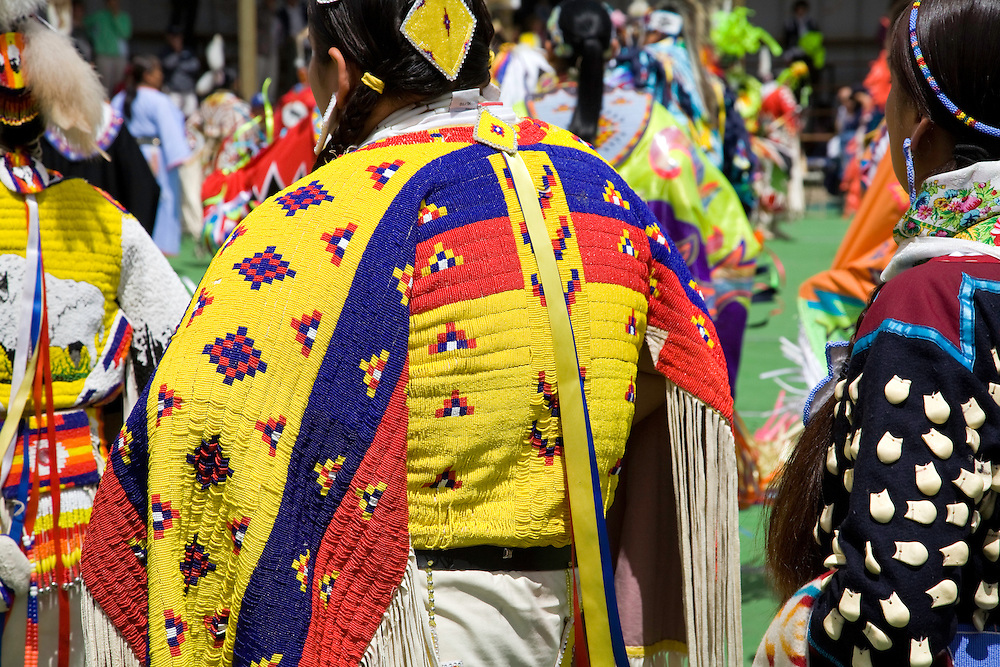 Browning, MT:  Beautiful beaded costume on a contestant at the famed Blackfeet Indian PowWow.
