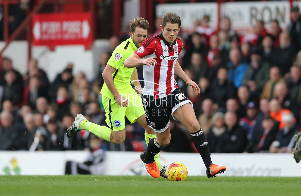 Brentford defender James Tarkowski during the Sky Bet Championship match between Brentford and Brighton and Hove Albion at Griffin Park, London, England on 26 December 2015.