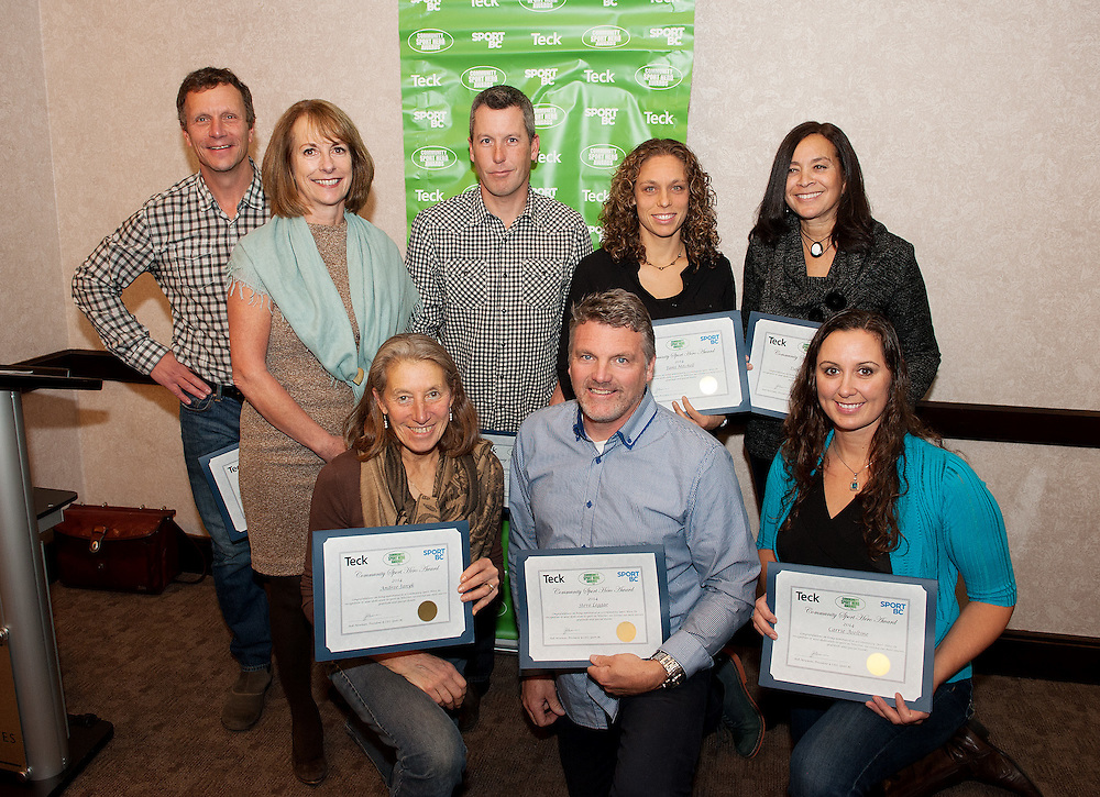 (L-R, back row)  Crosland Doak, Nancy Wilhelm-Morden, Munny Muno, Tami Mitchell, Dawn Lefebvre<br /> <br /> (L-R, front row) Andree janyk, Steve Legge, Carrie Aseltine<br /> <br /> Sport BC Community Sports Hero Awards presented by Teck to honour sport volunteers in communities throughout the Province.  Tuesday, November 18th, 2014.<br /> <br /> Photo Credit: David Buzzard