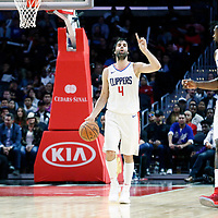 12 October 2017: LA Clippers guard Milos Teodosic (4) brings the ball up court next to LA Clippers center DeAndre Jordan (6) and LA Clippers forward Blake Griffin (32) during the LA Clippers 104-87 victory over the Sacramento Kings, at the Staples Center, Los Angeles, California, USA.