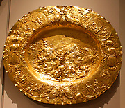 Dish.  Elkington & Co.  English (Birmingham), 1883.  Electroformed copper, gilt.  Copy of a gilt-silver original, Augsburg, ca. 1675 (State Hermitage Museum, Saint Petersburg)