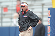 Head coach Hugh Freeze at Mississippi's Grove Bowl controlled scrimmage at Vaught-Hemingway Stadium in Oxford, Miss. on Saturday, April 5, 2014.