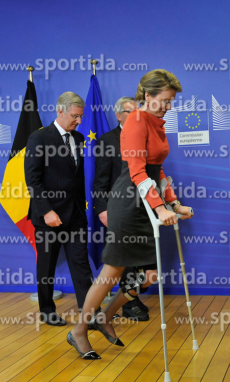 European Commission President Jean-Claude Juncker (C) welcomes King Philippe (L) and Queen Mathilde (R) of Belgium prior to a meeting at the EU headquarters in Brussels, Feb. 25, 2015. EXPA Pictures &copy; 2015, PhotoCredit: EXPA/ Photoshot/ Ye Pingfan<br /> <br /> *****ATTENTION - for AUT, SLO, CRO, SRB, BIH, MAZ only*****