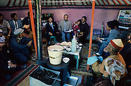 Mongolia. for the first time free and democratic elections happened in the country. Some electoral meetings take place in the yurts