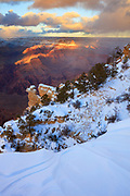 A winter sunset from Yavapai Point on the South Rim of Grand Canyon National Park.
