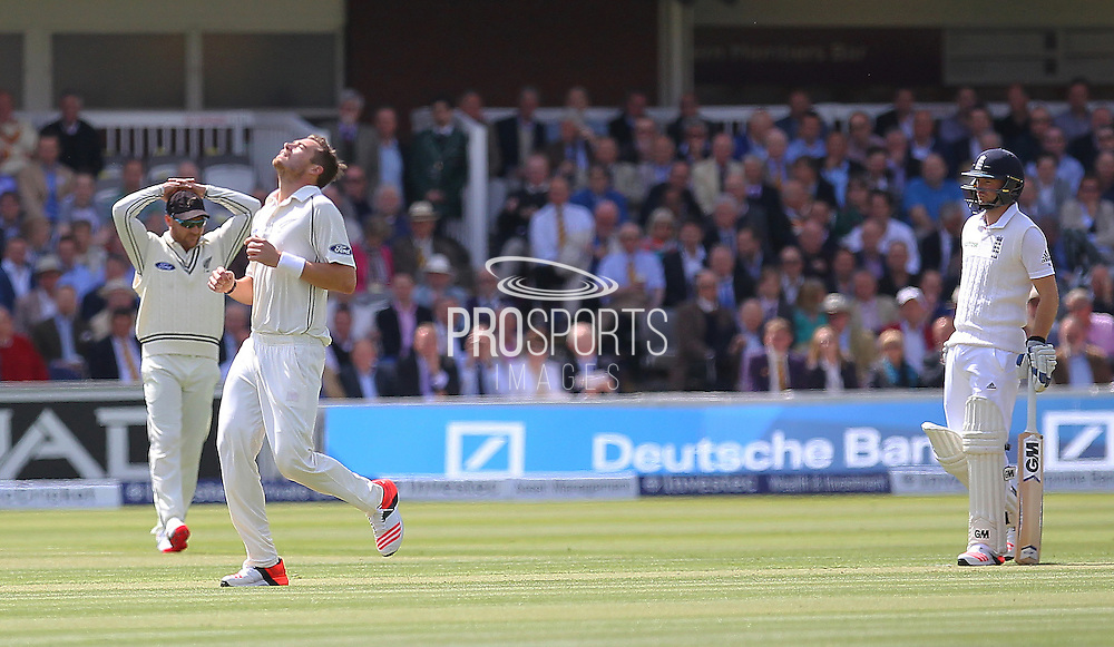 New Zealand Tim Southee with a close delivery during the first day of the Investec 1st Test  match between England and New Zealand at Lord's Cricket Ground, St John's Wood, United Kingdom on 21 May 2015. Photo by Ellie  Hoad.