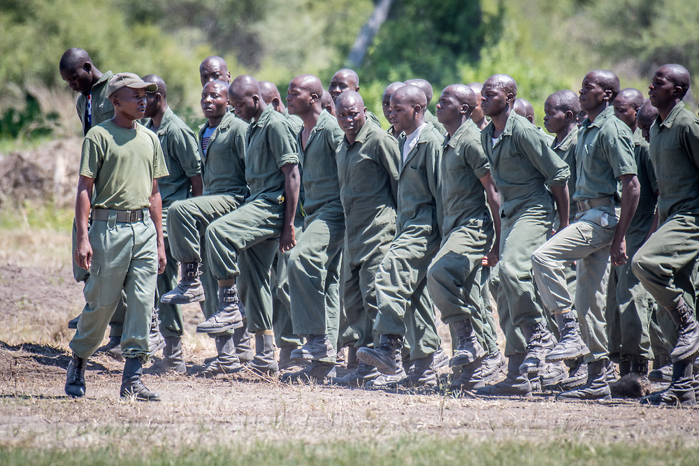 Park Rangers practicing drilling for the Hawange National Park. Hwange, Zimbabwe