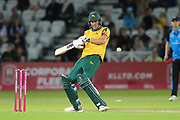 Jake Ball of Nottinghamshire Outlaws gets hit on the body during the Vitality T20 Blast North Group match between Nottinghamshire County Cricket Club and Worcestershire County Cricket Club at Trent Bridge, West Bridgford, United Kingdon on 18 July 2019.
