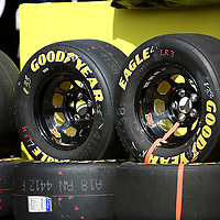 Goodyear Tires sit in the garage area at Daytona International Speedway on February 18, 2011 in Daytona Beach, Florida. (AP Photo/Alex Menendez)