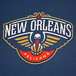 Jan 21, 2013; New Orleans, LA, USA; A detailed view of the New Orleans Pelicans primary logo the team is rebranding from their current name effective next NBA season at the New Orleans Arena. Mandatory Credit: Derick E. Hingle-USA TODAY Sports