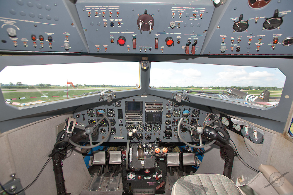 "A view of the instrument panel inside ""Legend Airways"" DC-3, N24641, formerly C-47 AF 42-32833."
