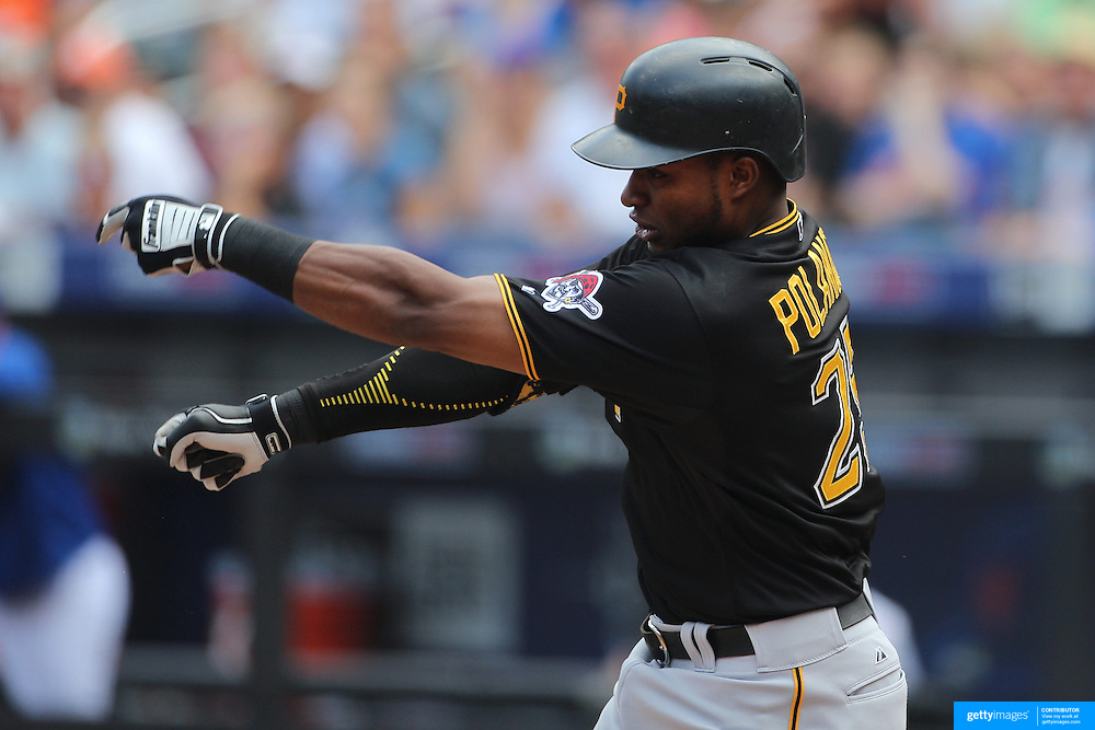 Gregory Polanco, Pittsburgh Pirates, loses the grip of his bat while batting during the New York Mets Vs Pittsburgh Pirates MLB regular season baseball game at Citi Field, Queens, New York. USA. 16th August 2015. Photo Tim Clayton
