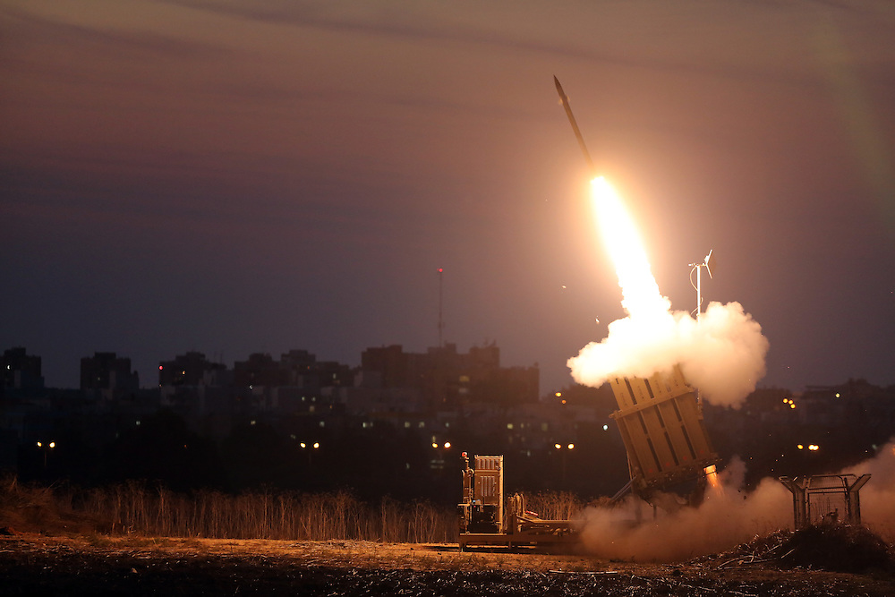 The Iron Dome defense system fires to interecpt incoming missiles from Gaza in the port town of Ashdod, Thursday, Nov. 15, 2012 photo by Gilad Kavalerchik