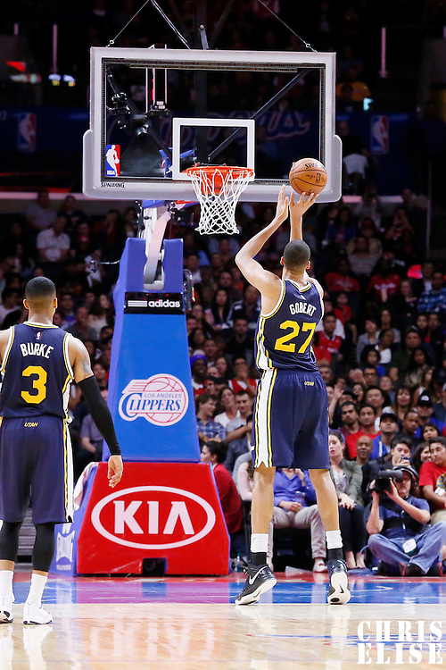 17 October 2014: Utah Jazz center Rudy Gobert (27) is seen at the free throw line during the Los Angeles Clippers 101-97 victory over the Utah Jazz, in a preseason game, at the Staples Center, Los Angeles, California, USA.