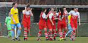 Charlton celebrate taking a 2-0 lead during the Women's FA Cup match between Charlton Athletic WFC and Crystal Palace LFC at Sporting Club Thamesmead, Thamesmead, United Kingdom on 8 March 2015. Photo by Michael Hulf.