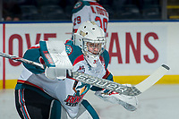 KELOWNA, CANADA - JANUARY 30: Brodan Salmond #31 of the Kelowna Rockets warms up in net against the Medicine Hat Tigers on January 30, 2017 at Prospera Place in Kelowna, British Columbia, Canada.  (Photo by Marissa Baecker/Shoot the Breeze)  *** Local Caption ***