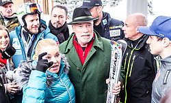26.01.2019, Rasmushof Alm, Kitzbühel, AUT, FIS Weltcup Ski Alpin, Pressekonferenz, Arnold Schwarzenegger präsentiert eigenen Ski im Stil seines R20 Austrian World Summit, im Bild v.l.: Arnold Schwarzenegger und Freundin Heather Milligan // f.l.: Arnold Schwarzenegger with Girlfriend Heather Milligan during a press conference, Arnold Schwarzenegger presents own skis in the style of his R20 Austrian World Summit at the Rasmushof Alm in Kitzbühel, Austria on 2019/01/26. EXPA Pictures © 2019, PhotoCredit: EXPA/ JFK