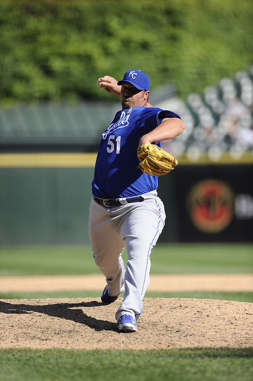 CHICAGO - MAY 13:  Jonathan Broxton #51 of the Kansas City Royals pitches against the Chicago White Sox at U.S. Cellular Field in Chicago, Illinois.  The Royals defeated the White Sox 9-1.  (Photo by Ron Vesely)   Subject:   Jonathan Broxton.