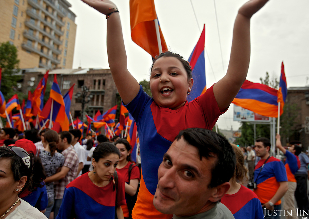 "Young people celebrate the national ""Flag Day"" holiday in Yerevan, the capital of Armenia."