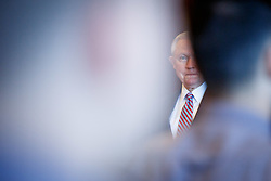 June 15, 2018 - Scranton, PA, US - Attorney General Jeff Sessions waits to be introduced before delivering remarks on immigration and law enforcement actions to cadets from Lackwanna College Police Academy. (Credit Image: © Michael Candelori via ZUMA Wire)