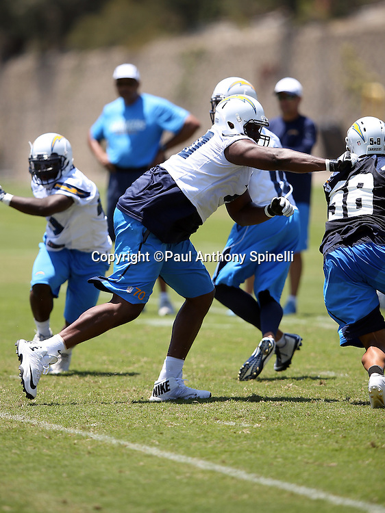 San Diego Chargers offensive tackle Chris Hairston (72) blocks during the San Diego Chargers Spring 2015 NFL minicamp practice on Wednesday, June 17, 2015 in San Diego. (©Paul Anthony Spinelli)
